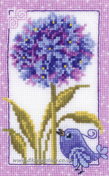 Blue On Blue Bird And Agapanthus Flowers Cross Stitch Kit